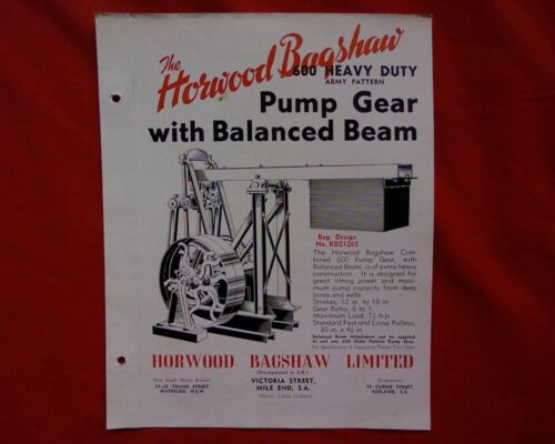 Vintage Horwood Bagshaw Pump jack sales brochure, stationary engine Sheep farm