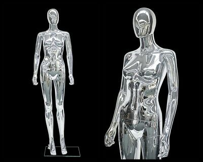 Female Plastic Chrome Mannequin Display Head Turns Ps-sf6sceg