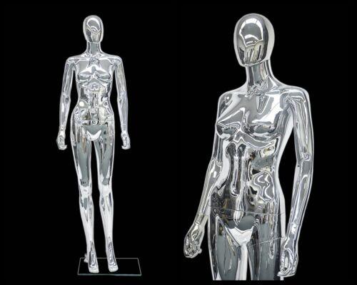 Female Plastic Chrome mannequin Display Head Turns #PS-SF6SCEG