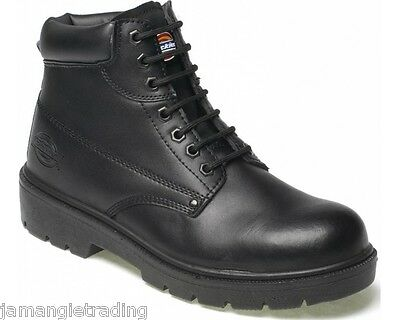 Dickies Antrim Super Safety Steel Toe Work Boots Black Leather Size 6-12 FA23333 Black Safety Toe Boot