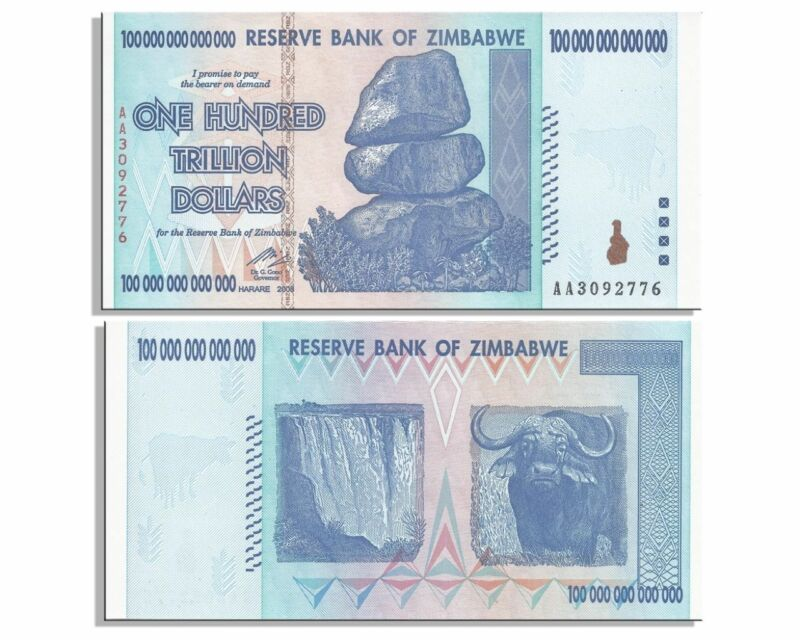 Zimbabwe 100 Trillion Dollar Note AA 2008 series AUNC PRICED TO SELL FAST!!!