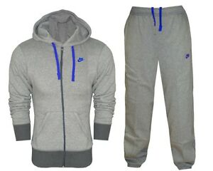 NIKE MENS FLEECE TRACKSUIT JOG SUIT FULL ZIP GREY BLUE NIKE TICK LOGO S- XL