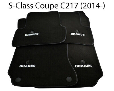 Floor Mats For Mercedes Benz S Class Coupe C217 BRABUS Logo Black Leather Rounds