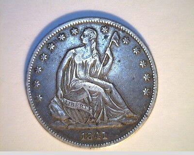 Click now to see the BUY IT NOW Price! 1841 0 US SEATED LIBERTY HALF  CIRCULATED .900 SILVER US 6233