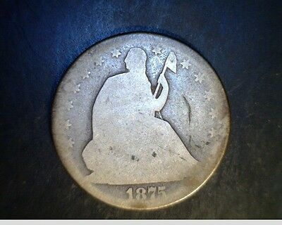 1875 SEATED LIBERTY HALF-AVE CIR-.3599 OZ SILVER  US-4216
