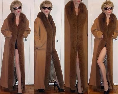 Marvin Richards Tan Brown Lambswool Full Length COAT Fur (Fox?) Shawl Collar 10