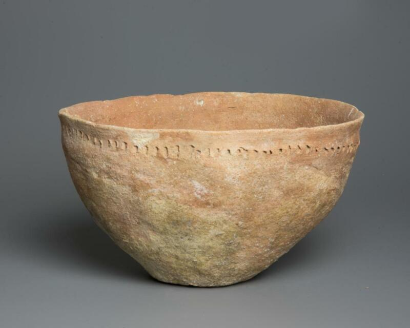 Bible lands Early Bronze Age pottery decorated bowl: 3000 BC.
