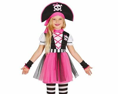 tin Outfit Rogette Guirca pinke Piratengirl Kind Pirat 191048 (Kind Mädchen Piraten Kostüm)