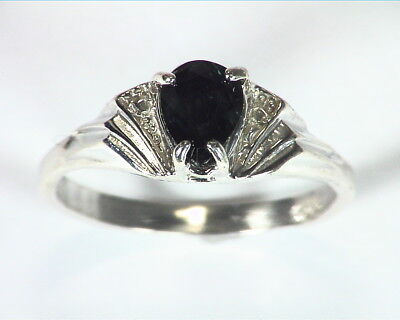 Green Sapphire Natural Genuine Gemstone Sterling Silver Lady,s Ring RSS,457
