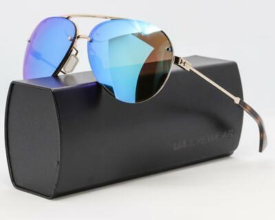 Neu Under Armour Double Down Sonnenbrille Ua Gold Glänzend / Blaue Spiegel Glas
