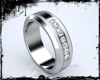 Men's Tungsten Carbide Natural Diamond Wedding Band Ring 8mm 0.44 Carats (Tungsten Carbide Mens Wedding Bands With Diamonds)