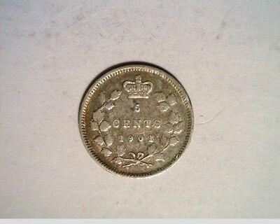 1901 Canada 5 Cent, Victoria,.0346 Silver (Can-700)