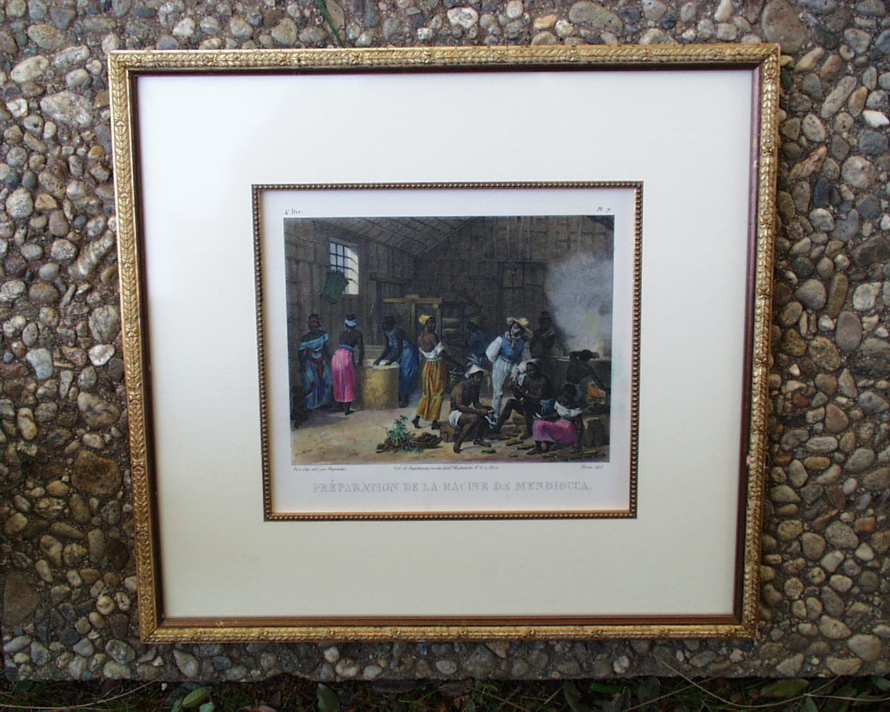 BRAZILIAN SLAVES PREPARING THE MANOIC ROOT VINTAGE CHROMOLITHOGRAPH J.M.RUGENDAS - $7.99