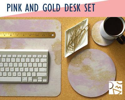 Pink and Gold Desk Mat, Mouse Pad & Coaster Set -Desk Accessory Set