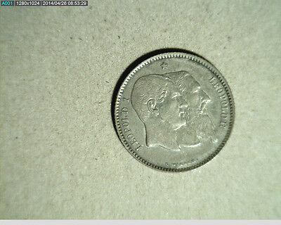 1880 Belgium, 1 Franc, High Grade Silver,  (Bel-30)