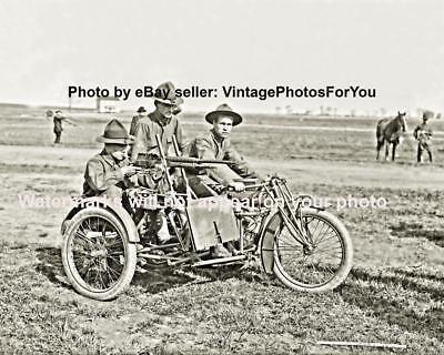 Old Antique Vintage World War 1 Army Indian Motorcycle Machine Gun Photo Picture