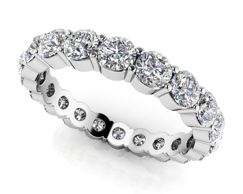 18k White Gold Round Brilliant Cut Diamond Eternity Band 3.25 Carat