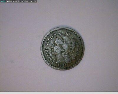 1881 THREE CENT NICKEL   67 101