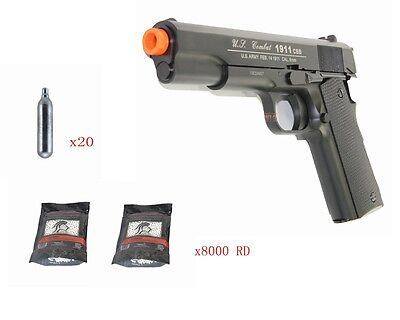 Airsoft Gas CO2 Blowback WG 1911 Pistol Fast Magazine Full Metal Package