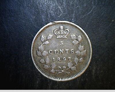 1897 Canada, 5 Cents, Medium to High  Grade, .0346  oz Silver (Can-457)