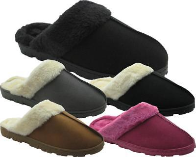 Ladies Micro-Suede Slippers with Faux Fur Cuff and Front Dec