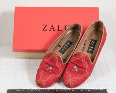 Zalo Womens 7.5 Loafers Red Monkey Smoking Flats Leather Canvas g25