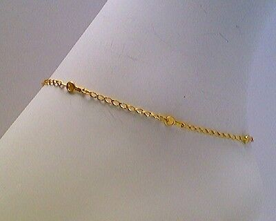 ANKLET 14 KT YELLOW GOLD FANCY TENNIS RACKET DESIGN ON LONG CURB LINKS (9 -