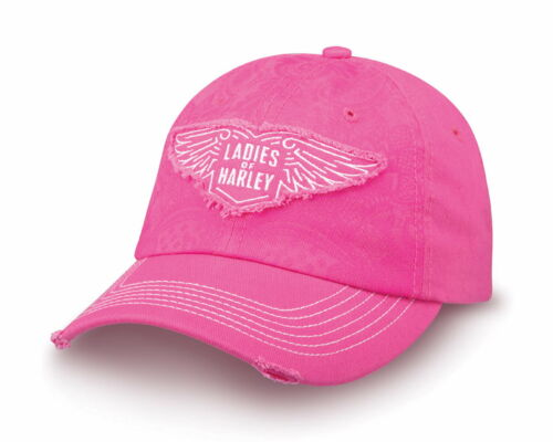Harley Davidson Ladies of Harley Hat Distressed Pink Cap Baseball Hat