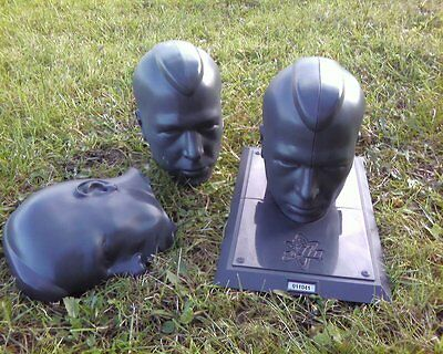 2 OF Halloween Prop Male Mannequin Head plastic creepy skull lot lawn black/grey - Halloween Mannequin Head