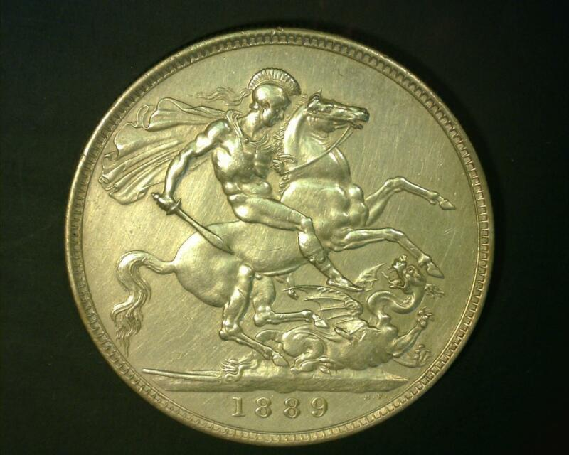 GREAT BRITAIN 1889 SILVER CROWN KM#765  ABOUT UNCIRCULATED  ~345121