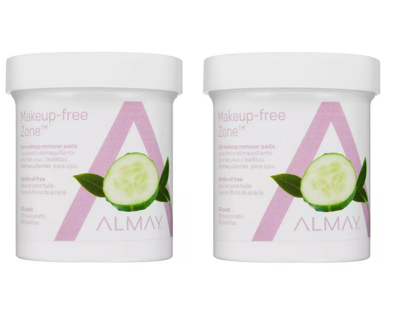 2 x Almay Eye Makeup Remover Pads, Gentle Oil-Free 80 pads e