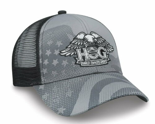 Harley Davidson Owners Group Mesh Flag Hat w Embroidered HOG Eagle Baseball