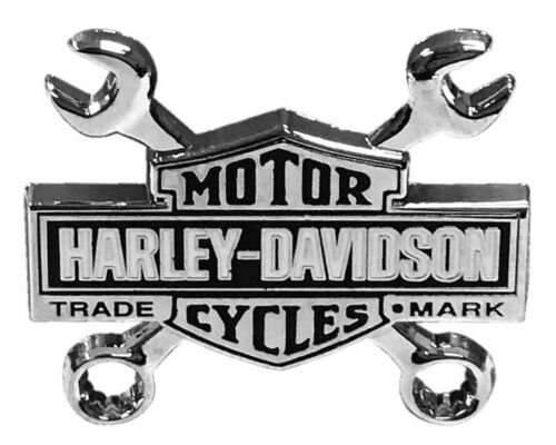 Harley-Davidson® Trademark Long Bar & Shield Wrench Vest Pin Silver Nickel Finis