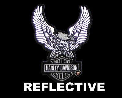 HARLEY DAVIDSON BAR & SHIELD UP WING EAGLE REFLECTIVE 8 INCH PATCH NIGHT VISION