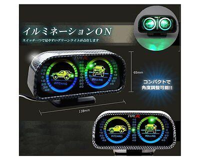 Universal Car Offroad 12V Dual LED Backlight Inclinometer Tilt Slope Meter Pitch