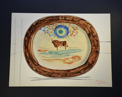 """Pablo Picasso, """"Ceramiques"""", Original Print featuring a Bull.  Hand Signed, COA., used for sale  Shipping to Ireland"""