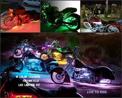 18 Color Change Led Cross Country Motorcycle 24pc Led Neon Strip Super Kit