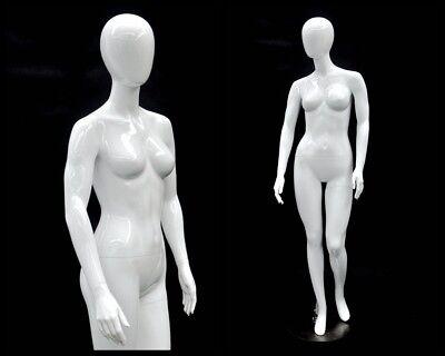 Female Fiberglass Glossy White Mannequin Egg Head Roxy Display Md-gpx05w1eg