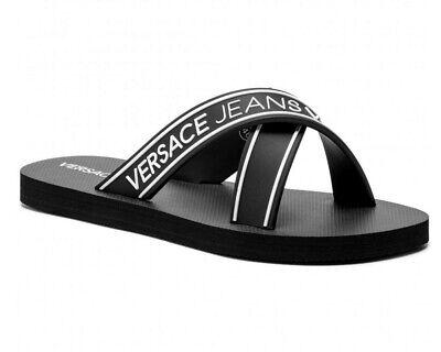 Versace Jeans GTBSQ5 Fondo VJ Crossover Flip Flops Black Beach Pool Slide Sandal