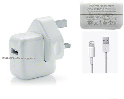 Genuine Apple 12W iPad 4 Air 2 mini Wall plug and 1 Meter cable