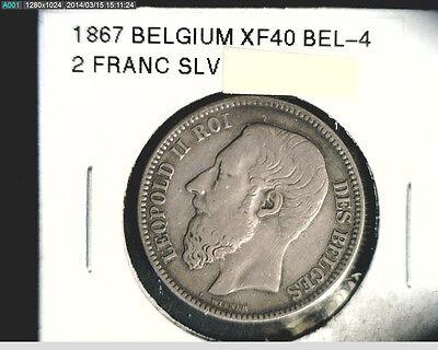 1867 Belgium, 2 Franc, High Grade Silver (Bel-4)
