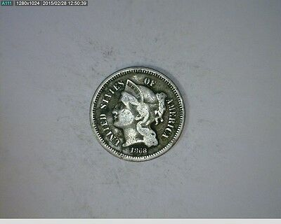 1868 THREE CENT NICKEL   56 107