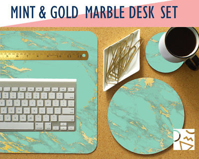 Mint and Gold Marble Print Desk Mat, Mouse Pad & Coaster Set -Desk Accessory