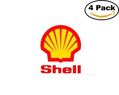 Gas Oil Company Royal Dutch Shell Logo 4 Stickers 4X4 Inches Sticker