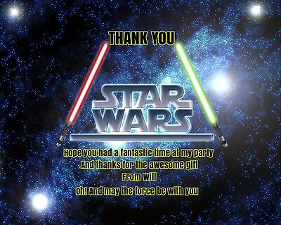 Personalised Children Party  Thank you Cards STAR WARS with Envelopes
