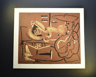 """Pablo Picasso, Original Signed Linocut, """"Femme couchee et Guitariste"""", Bloch 918 for sale  Shipping to Ireland"""