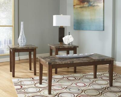 Photo NEW Signature Design Ashley Furniture Theo Brown Coffee Table Set of (3) T158-13