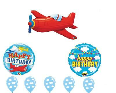 8 PC Vintage AIRPLANE Happy Birthday CLOUDS sky Balloons Free Ship