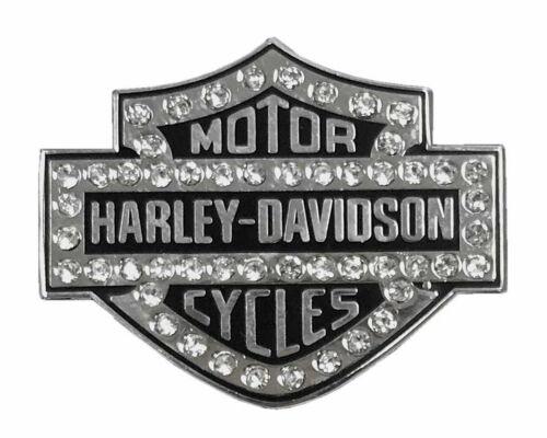 Harley Davidson® Rhinestone Bar & Shield Pin Silver Finish Bling