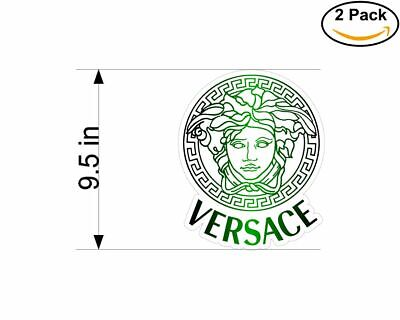 Versace Medusa Green Color 2 Stickers 9.5 Inch Sticker Decal